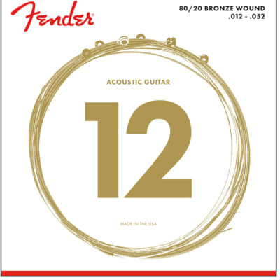 Fender 80/20 Bronze Acoustic Strings Ball End, 70L .012-.052 for sale