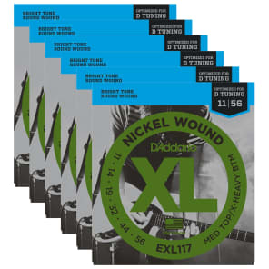 D'Addario EXL117 Electric Medium Top/Extra Heavy Bottom 11-56 (6 Pack Bundle)