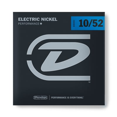 Dunlop Electric Guitar Strings, Nickel Wound - Light Top / Heavy Bottom - 6-String Set, 10-13-17-30-42-52