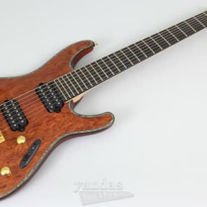Ibanez SIX27FDBG-NT S Iron Label Deluxe Series HH Bubinga Top 7-String Electric Guitar w/ Tremolo Natural