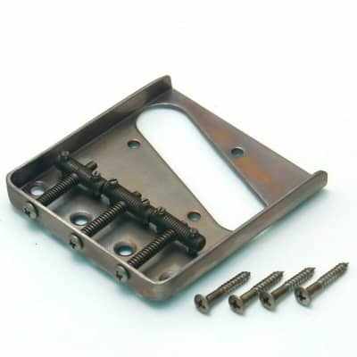 NEW Q-Parts Aged Collection Guitar Bridge for '58 Fender Tele, DISTRESSED NICKEL for sale