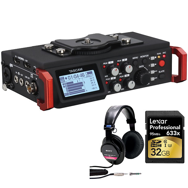 Tascam 6-Track Field Recorder for DSLR with SMPTE Timecode w/ 32GB Studio  Bundle