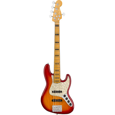 Fender American Ultra Jazz Bass V Plasma Red Burst MN with Case for sale