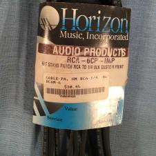 Horizon  Miniature Instrument  Patch Cable Pair RCA to 1/4 Inch 6 Feet Neutrik Connectors NOS Unused