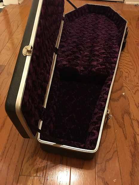Coffin case universal instrument case black red interior reverb for Black casket with red interior