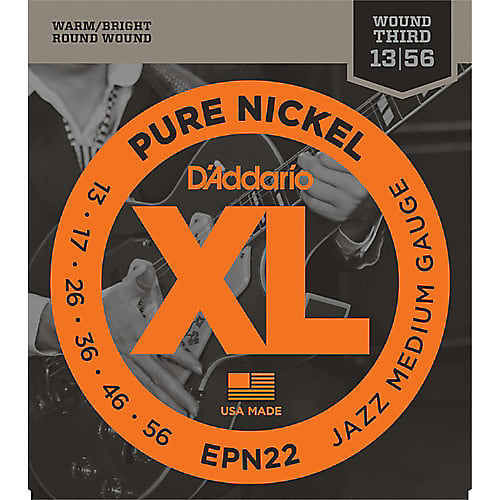 D'Addario EPN22 Pure Nickel Jazz Medium Electric Guitar Strings 13-56