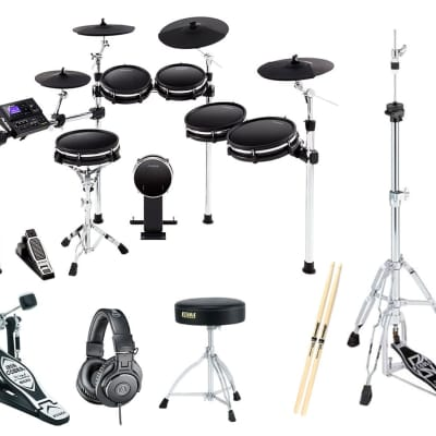 Alesis DM10MKII Pro Drum Kit + Kick Pedal + Hi-Hat Stand + Throne + AT ATH-M30X Headphones + Sticks