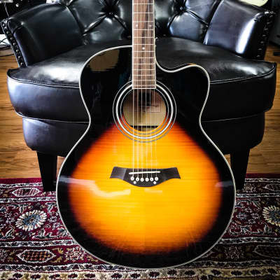 Tagima Jumbo Maple Cutaway Steel Acoustic Electric Sunburst for sale