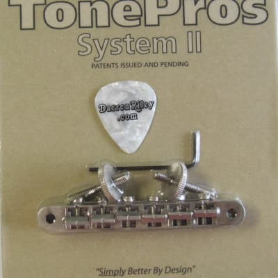 TonePros AVR2P-AN Tuneomatic Bridge with Notched Saddles Aged Nickel