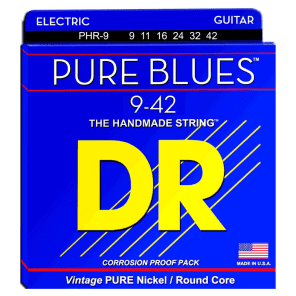 DR Strings PHR-9 Pure Blues Lite Pure Nickel Electric Guitar Strings 9-42 for sale