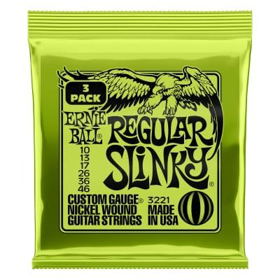 Ernie Ball 3221 Regular Slinky Nickel Wound Electric Guitar Strings 3 Pack - 10-46 Gauge