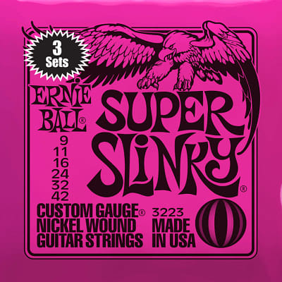 Ernie ball Slinky Nickelwound 3 x sets of Super Slinky Guitar Strings 9-42 for sale