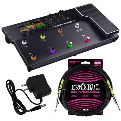 Line 6 POD GO Guitar Multi-Effects Processor, UL Listed 9V AC/DC Power Adapter,  Ernie Ball Instrument Cable P06048 Bundle for sale