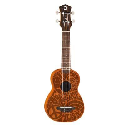 Luna UKE PCE Love Peace Etched 60's Mahogany Soprano Aquila Strings Ukulele