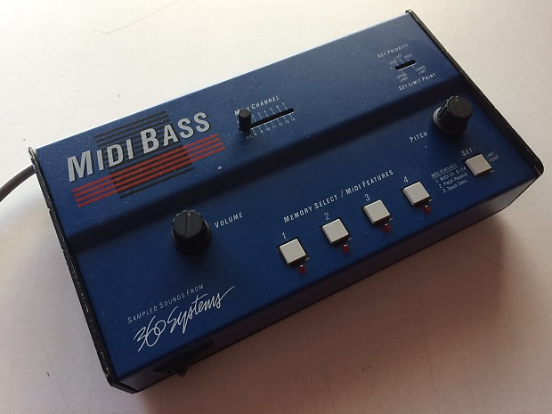 360 Systems Midi Bass W/ ROM chips Blue