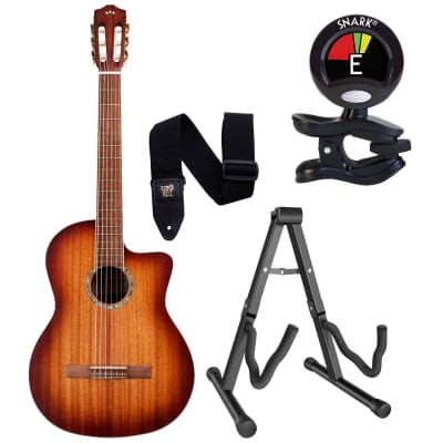 Cordoba C4-CE, Nylon String Acoustic-Electric Guitar – Edgeburst, Guitar Stand, Snark SN5X, ErnieBall P04037 Strap Bundle
