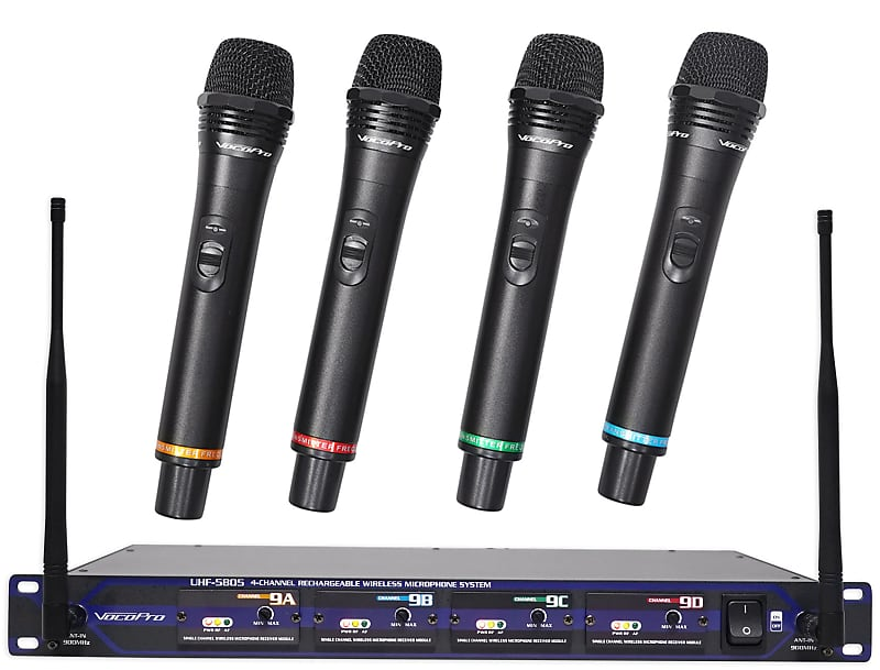 vocopro uhf 5805 4 wireless 4 ch handheld microphones free reverb. Black Bedroom Furniture Sets. Home Design Ideas