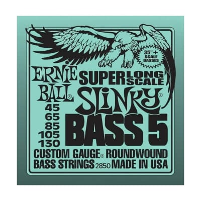 ERNIE BALL Super Long Scale Slinky 5-String Bass Strings (2850) Single Pack