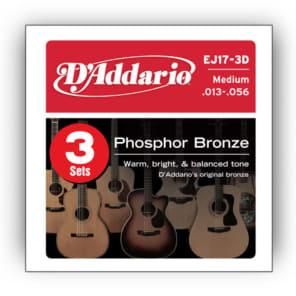 D'Addario EJ17-3D Acoustic Guitar Strings 13-56 (3 Sets)