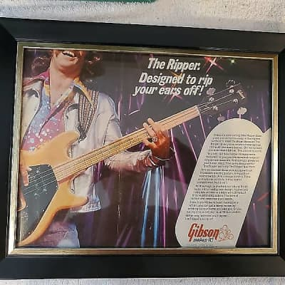 1974 Gibson Guitars Color 2 Page Promotional Ad Framed The Ripper Bass Original