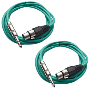 "Seismic Audio SATRXL-F10-GREENGREEN 1/4"" TRS Male to XLR Female Patch Cables - 10' (2-Pack)"