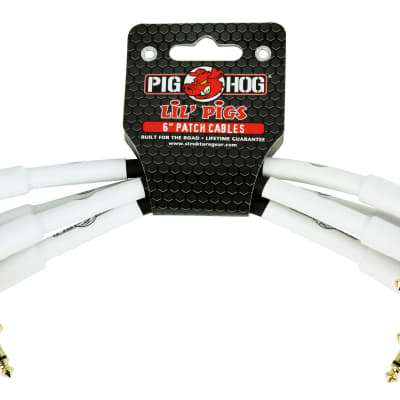 "Lifetime Warranty! Pig Hog Lil Pigs 1/4""-1/4"", 6"" Right Angle Patch Cables, PHLIL6 Free Shipping"