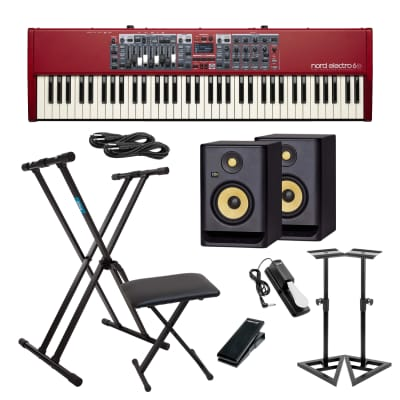 Nord Electro 6D 73-Note Semi-Weighted Keyboard, 2x KRK RP5G4 Monitor, Keyboard Stand, Keyboard Bench, Monitor Stands, Nektar NX-P, Sustain Pedal, 2x 1/4 Cable Bundle
