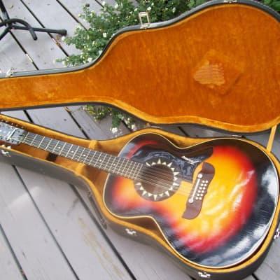 Framus 12-string Acoustic 5/297 Guitar and Hardshell Case 1960's sunburst