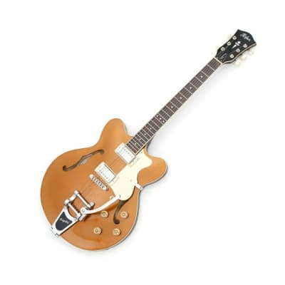 Hofner Contemporary Verythin Guitar - Ltd Edition Gold Top W/ Bigsby & Case for sale
