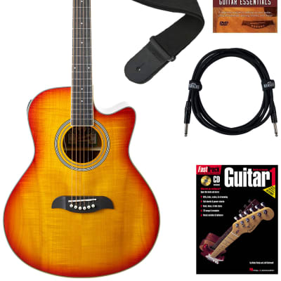 Oscar Schmidt OA10CE Mini Auditorium Cutaway Acoustic-Electric Guitar - Spalted Maple Bundle with Cable, Tuner, Strap, Picks, Book, DVD, and Austin Bazaar Polishing Cloth for sale