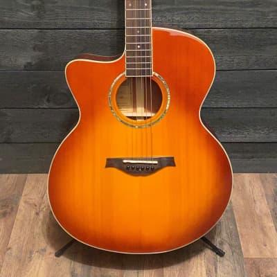 Wood Song Left Handed Jumbo Honey Burst JC Acoustic Guitar w/ Gig Bag