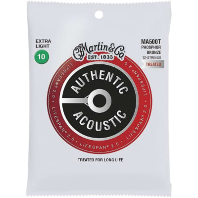 Martin MA500T Acoustic Lifespan 2.0 Phosphor Bronze 12-String Acoustic Guitar Strings, Extra Light