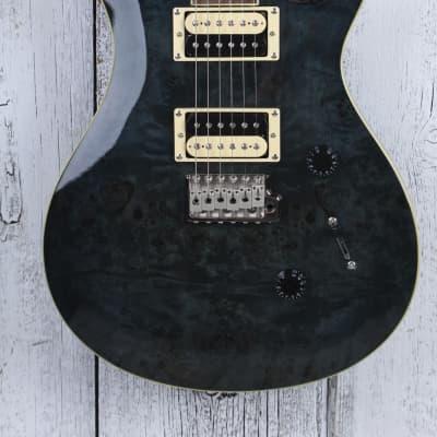 PRS SE Custom 24 Poplar Burl Electric Guitar Whale Blue Finish with Gig Bag