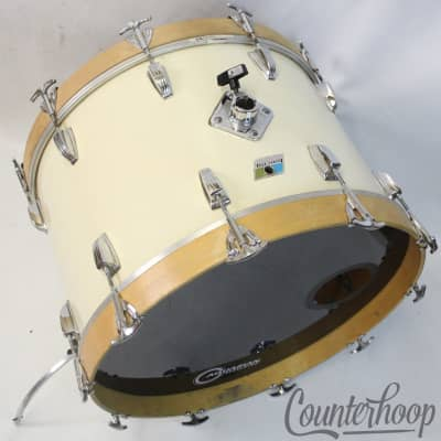 "*Ludwig 22x14""Bass Drum White Cortex Vintage 70s 3Ply Mahogany/Maple Blue/Olive*"