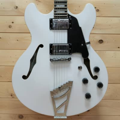 D'Angelico Premier DC Semi-Hollow Double Cutaway w/ Stairstep Tailpiece - White