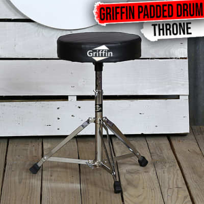 Drum Throne - Griffin Padded Seat Drummers Stool Stand Chair Percussion Hardware