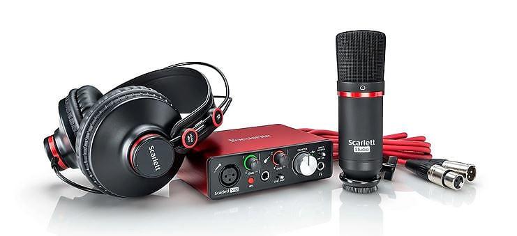 Focusrite Scarlett Solo (2nd Gen) Studio Bundle w/ Headphones, Mic and Cable