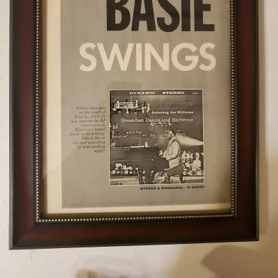 1959 Roulette Records Promotional Ad Framed Count Basie Breakfast Dance And Barbecue Album Original