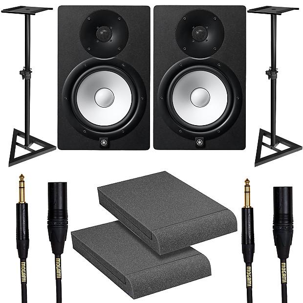 Yamaha hs8 black studio monitor pair with stands for Yamaha hs8 studio monitor speakers