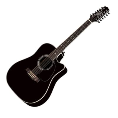 Takamine EF381SC-12 Dreadnought 12-String Acoustic-Electric Guitar - Black