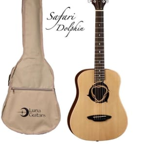 Luna Safari Series Dolphin Travel-Size Dreadnought Acoustic Guitar, SAF DPN for sale