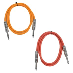 "Seismic Audio SASTSX-2-ORANGERED 1/4"" TS Male to 1/4"" TS Male Patch Cables - 2' (2-Pack)"