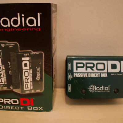 Radial  J48 1-c, X-Amp 1 In 2 Out Active Re-Amping Device, and ProDI 1-channel Passive Instrument Direct Box Blue, Yellow, Green