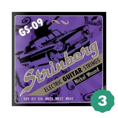 New Strinberg GS-09 Extra Light Nickel Wound Electric Guitar Strings (3-PACK)