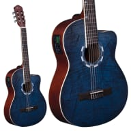 <p>Lindo LDG-960CEQ Electro-Acoustic Classical Guitar with Canvas Carry Case - Picasso Blue</p>  for sale
