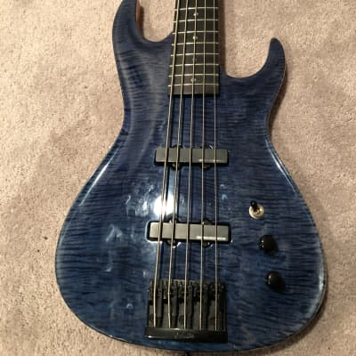 Ree Teeter RT Custom Built 5 String Bass Warmoth Blue Flame Maple for sale