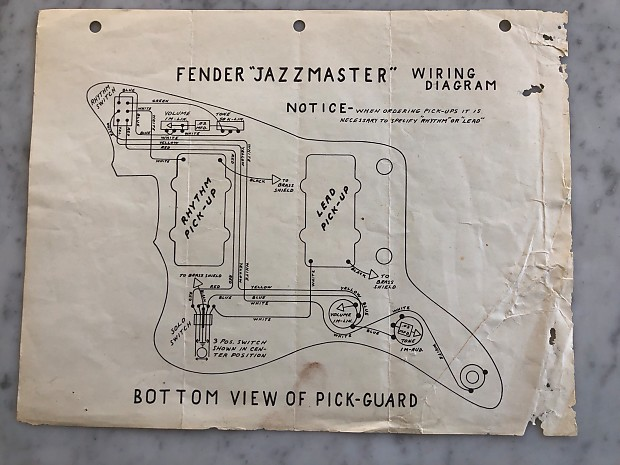 Circa 1959-1964 Fender Jazzmaster Wiring Diagram Vintage Case Candy on