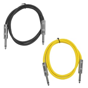 """Seismic Audio SASTSX-2-BLACKYELLOW 1/4"""" TS Male to 1/4"""" TS Male Patch Cables - 2' (2-Pack)"""