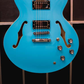 Palermo Shelby Sonic Blue Semi-Hollow Thinline Electric Guitar W/ 335 Case NEW for sale