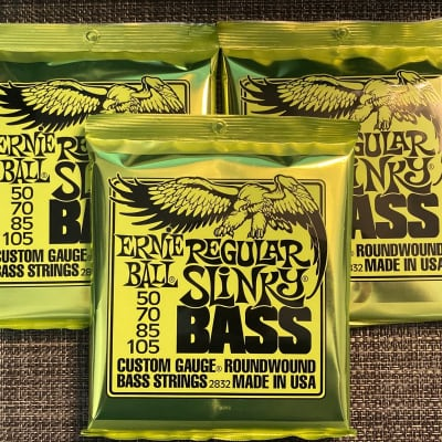 3 Sets of Ernie Ball 2832 Regular Slinky Round Wound Electric Bass Strings